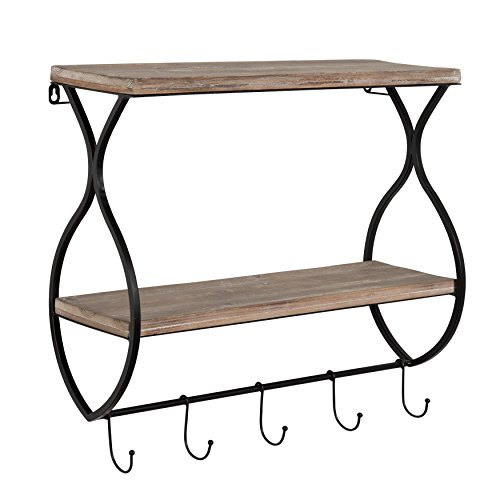 Kate and Laurel Spurling Wood and Metal Floating Wall Shelf with Hooks by Kate and Laurel