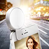 Selfie Light Ring - Juhefa Clip-on LED Camera Light - Photography Light Compatible with iPhone - iPad - Sumsung Galaxy - Phone - Laptop (Rechargeble - 3-Level Dimmable - White 1pack)