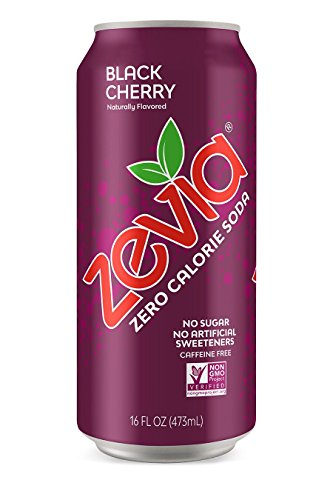 - Zevia Black Cherry, 16 Ounce Can (12 Count) Zero Calories or Sugar, Naturally Sweetened, Carbonated Soda, Refreshing, Flavorful, and Tasty