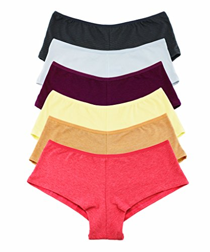 6 Pack Women's Hipster Boy Shorts Panties GIrls Cotton Cheeky Underwear (Pack B, Size: (Hipster Boyshort)