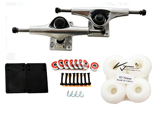 "VJ Skateboard Accessory Combo 5"" Skateboard Trucks Aluminum ( Silver ) 52mm Skatebaord Wheels Abec 7 Bearings Spacer Riser Pads 1"" Screws (White wheels)"