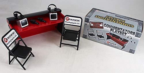 Wrestling Commentators Playset (Red) - Ringside Collectibles Exclusive WWE Toy Action Figure Accessory Pack (Table Wwe Announcers)