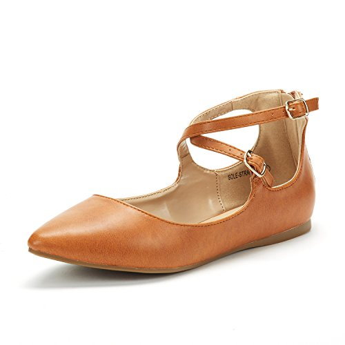 DREAM PAIRS Women's Sole-Strappy Tan Pu Ankle Straps Flats Shoes - 9 M US