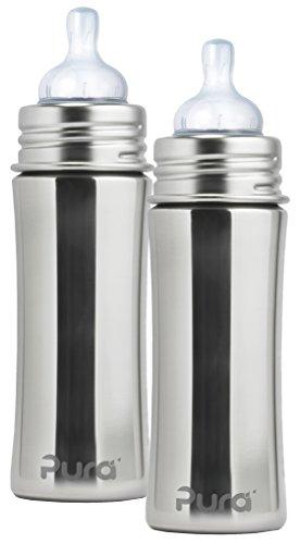 Pura Kiki Stainless Steel Infant Bottle, Natural, 11 Ounce,