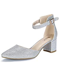 Women's IN2 Pedazo-C Mid Chunky Heels Ankle Strap D'Orsay Pumps