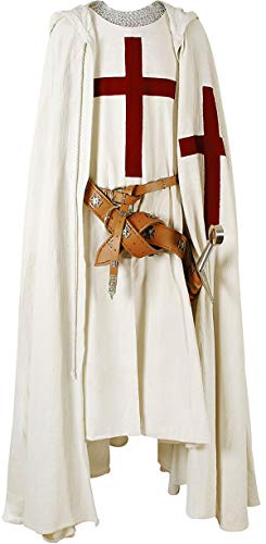 Medieval Templar Knight - Armour Shop Medieval Knight Cloak Templar Surcoat Hooded Cap Crusader Cloak/Tunic Reenactment SCA Size-L
