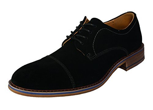 A11237 Black La Formal Mens Shoes Dress Cap Toe Milano Suede CqZwxA7H