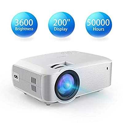Video Projector, TOPVISION Native 720P 3600 Brightness Full HD LED Projector 2019 Upgraded, 50,000 Hrs Home Movie Projector for Indoor/Outdoor, Compatible with Fire TV Stick, PS4, HDMI, VGA, AV, USB