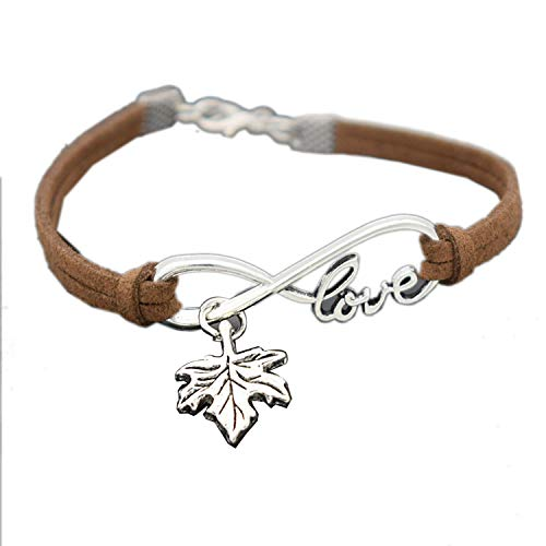 Vintage Antique Silver Infinity Love Plant Tree Leaves Maple Leaf Charm Leather Bracelets Personality Lucky Jewelry Gifts,Dark Brown
