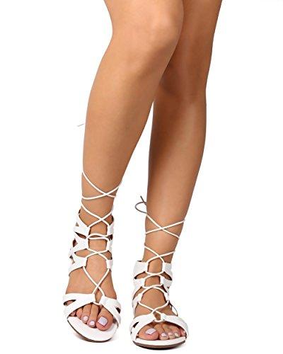Betani ek27レディース合成皮革オープントウGilly Tie Wrap Gladiator Sandal – ホワイト