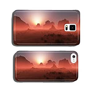 Red rocky desert landscape in the mist at sunset. Panoramic shot cell phone cover case iPhone5