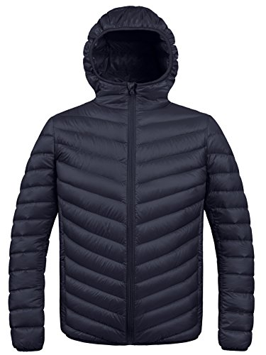 ZSHOW Men's Winter Hooded Packable Down Jacket(Black,X-Large) (Best Outdoor Down Jacket)