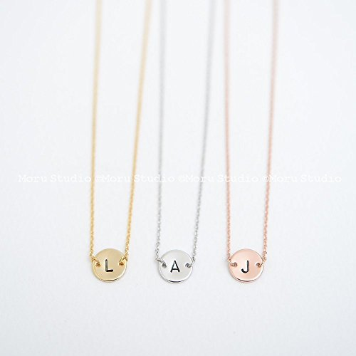 Mommy Tag Necklace - Personalized Initial Disc Choker Necklace/Hand Stamped Disk Necklace, Disc Tag, Coin Tag, Custom Name Necklace Initial Letter Necklace Mommy Gift, 139