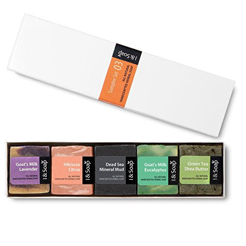 I & SOAP, 5pcs Mini Sampler Set (03) - Guest Soap - Travel Soap - 100% Natural & Organic Materials - Handcrafted Herbal Soap - Gentle and Effective Facial, Hand - Flavored Bar