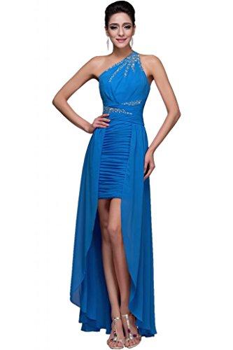 Sunvary nuovo Fashion Party Cocktail vestiti con una spalla pleatd Ruffle Blue 52