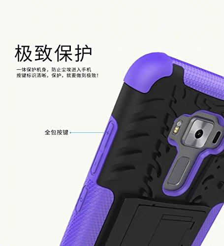 YHUISEN Hyun Patrón Dual Layer Caja de Armadura Híbrida Desmontable Kickstand 2 en 1 resistente a los golpes resistente resistente cubierta de la caja para Asus Zenfone 3 ZE520KL (5.2 pulgadas) ( Colo Black