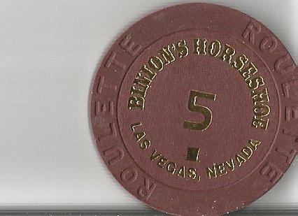 $1 binions horseshoe table 5 roulette las vegas casino chip brown