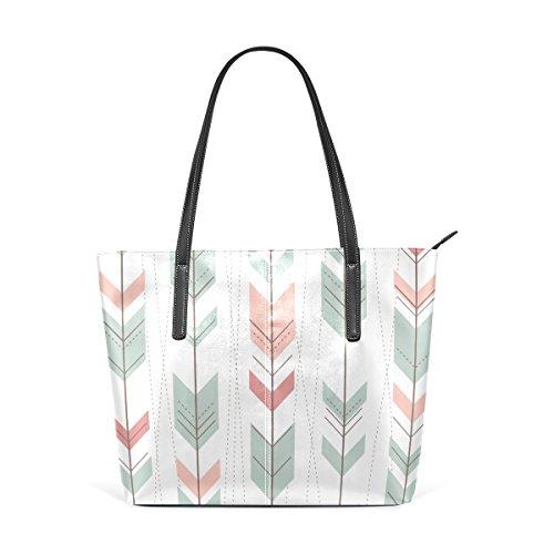 COOSUN Sin fisuras patrón geométrico en estilo retro de la PU de cuero bolso monedero y bolsos de la bolsa de asas para las mujeres Medio muticolour