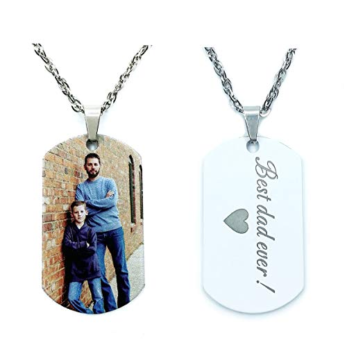 (Civbalen Personalized Photo Text Dogtags Custom Picture Necklace Message Pendant Customized Valentine's Day Birthday Gift (Multicolor 24