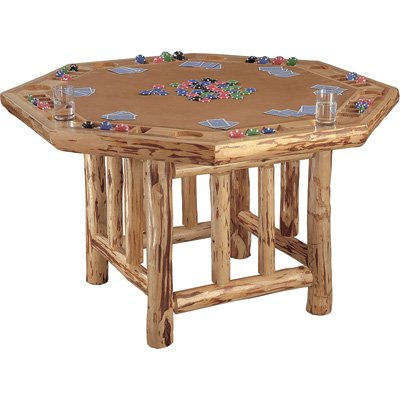 Rush Creek Creations Rustic Log 8 Player Octagon Poker Table
