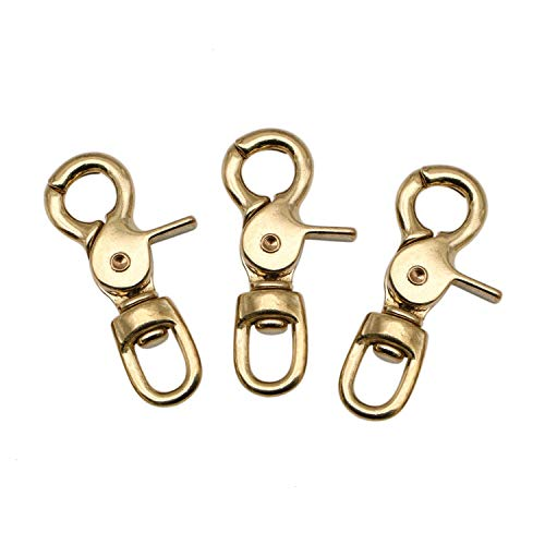 JETEHO 3 Pack Large Solid Brass Lobster Clasp Gold Heavy Duty Swivel Trigger Lobster Claw Clasps Snap Hooks for Bag Strap,64x11mm ()