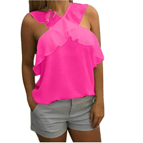 NCCIYAZ Womens Vest Tank Chiffon Cross Straps Sleeveless Tops Pure Colour Plain T-Shirts Ladies Blouse Camisole(M(6),Fuchsia)