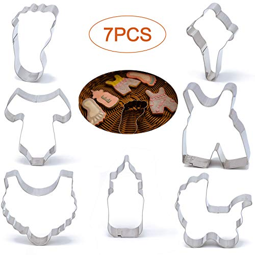 Baby Shower Cookie Cutter Set 7 Piece set Onesie, Bib, Rattle, Feeding Bottle, Baby Carriage, Baby Pants,Baby Foot Biscuit Cutters, Stainless Steel