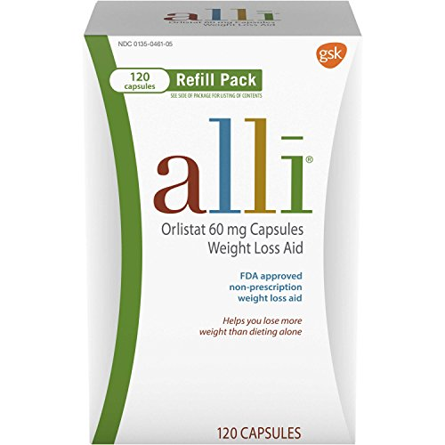 alli Weight Loss Diet Pills, Orlistat 60 mg Capsules, 120Count Refill Pack ()