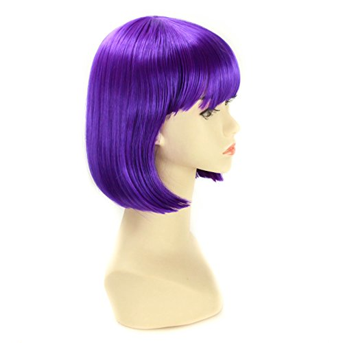 Coco Halloween Costumes (Halloween Charming Short Bob Wigs Straight Bang Cosplay Party Costume Wig Natural as Real hair 11 inch (Purple))