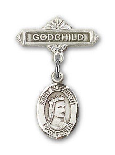 Icecarats Créatrice De Bijoux En Argent Sterling St. Elizabeth De Charme Hongrie Broches Badge Filleul 1 X 5/8