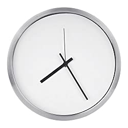 Egundo Wall Clocks Silent 12 Inches Non-Ticking Sweep Movement with Stainless Steel Frame and Pointers, Paper Dial, Battery Operated Simple Clocks for Living Room Bedroom Kitchen Office Hotel (White)