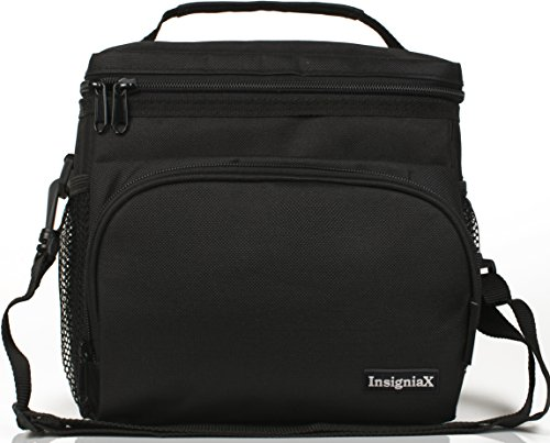 Insulated Lunch Bag  Insigniax Adult Lunch Box For Work  Men  Women With Adjustable Strap  Front Pocket And Side Pocket  Unisex Lunch Bags  H  8 4  X W  6 3  X L 9 1   Large  All Black