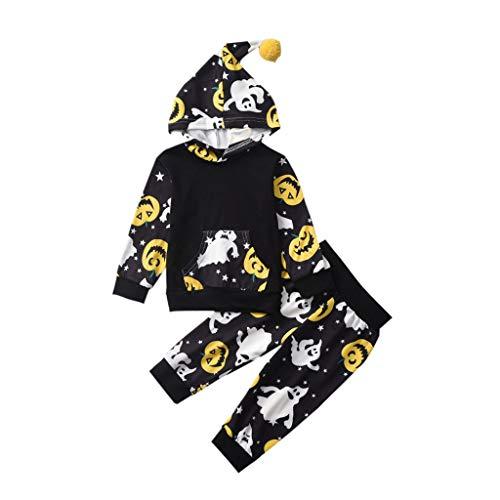 Newborn Infant Baby Boy Girl Halloween Pumpkin Ghost Romper Jumpsuit Cap Costume (Costume Doormat)