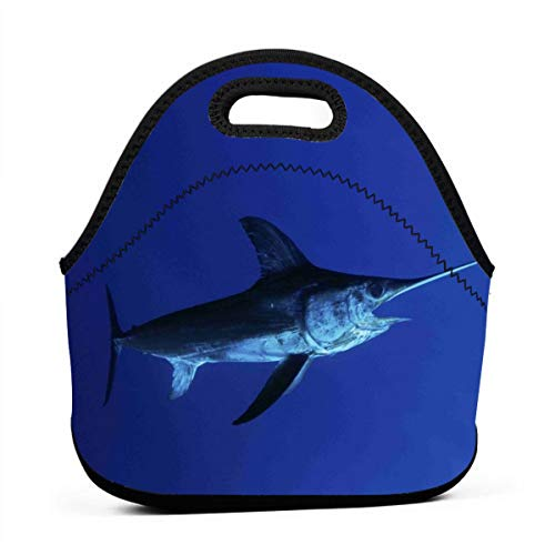 LKJDAD Sailfish Navy Blue Lunch Bag, Thick Insulated Lunchbox Bags,Tote Box with Zipper Closure for Kid Travel Picnic Office