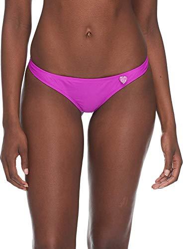 Body Glove Women's Smoothies Thong Solid Minimal Coverage Bikini Bottom Swimsuit, Magnolia, Medium