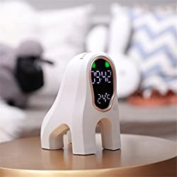 Alarm Clock Creative Dog Intelligent Music Wake Lamp With Sleep Electronic Temperature Cute Mini Black And White Gifts Christmas Personality Fun,White