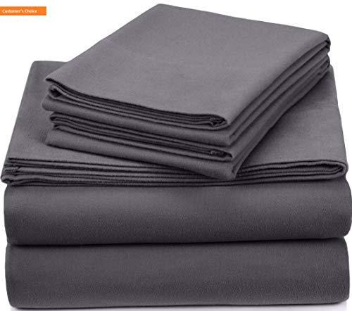Mikash New Soft Pinzon Signature 190-Gram Cotton Heavyweight Velvet Flannel Sheet Set - King, Graphite | Style 84597625 - Heavyweight Brushed Twill Fabric