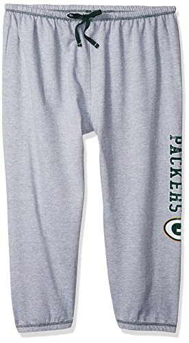 NFL Green Bay Packers Women Lt Weight Fleece Pant W/Topstitch Trim Outside Ds W/M Logo Down Leg, Heathergrey, 4X -