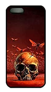 Rubber Back and DIY Case Cover For iPhone 5C Custom Soft TPU Single Shell Skin For iPhone 5C-Skull and Insect on Red Background