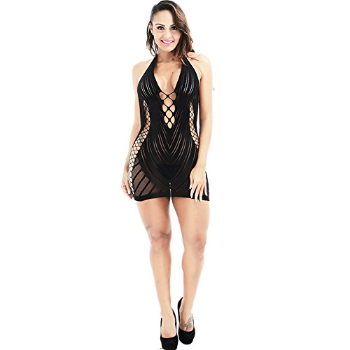 Erotic Underwear,dezirZJjx Sleepwear Women Sexy Hollow Halter One Piece Underwear Sleepwear Chemise Dress Bodysuit - Black One Size