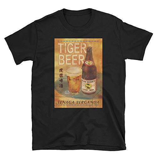 Tiger Beer Singapore Malayan Breweries Vintage Beer Ad Unisex T-Shirt Black