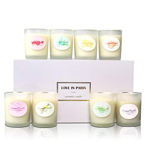 8 Piece Set Gift Box Frosted Glass Scented Candle Environmentally Friendly Plant Essential Oil Soy Wax Smokeless Scented Candle
