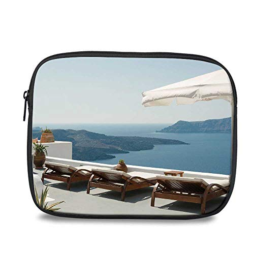 Travel Decor Durable iPad Bag,Sunbathing with Caldera View Terrace Santorini Aegean Greece Print for iPad,10.6