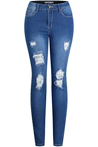 2LUV Women's Stretchy 5 Pocket Destroyed Medium Denim Skinny Jeans Medium Blue 7 - Ladies Skinny Jeans
