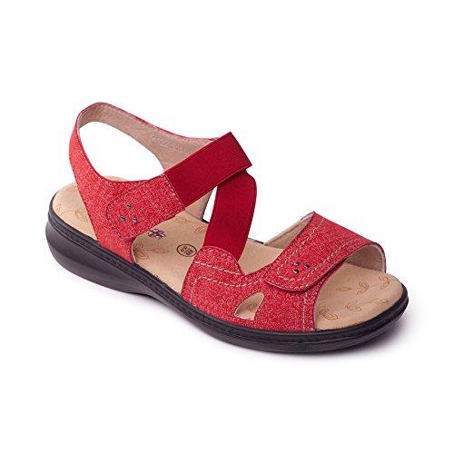 Gamma Donne Scarpa Libero Più See 2 Size Extra Sandal Corno Al Con Louise ' Di Per Large Dimensioni Comfort Padders Rosso E Ulteriori YAxF1qF