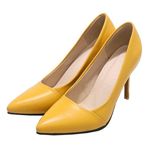 Tacco Lavoro Scarpe TAOFFEN Donna Scivolare su Yellow con Scarpe wqOxI5Pp