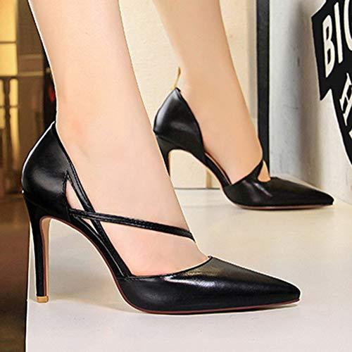Moda Sottile Party Colore Minetom Nero Elegante Estate Di Festa Tacco Dolce Superficiale Bride Pelle Sandals Bocca Sandali Donna Cava Alto Misto A t6zXw6