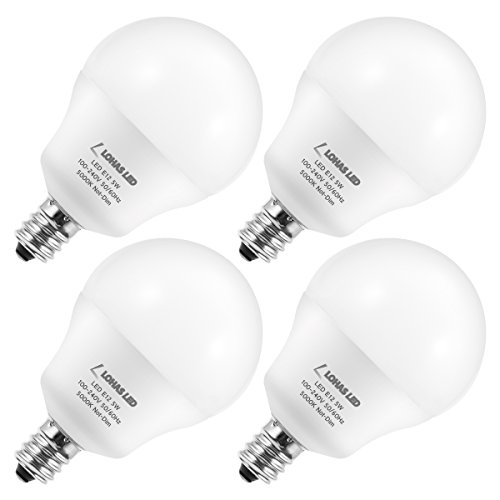 LOHAS 5W E12 Candelabra LED Bulb, 40W-60W Equivalent G14 LED Globe Bulbs, 600LM 5000K Daylight Ceiling Fan Light Bulb, Vanity Mirror Light Bulb for Bathroom Bedroom Living Room, Not-Dimmable, 4 Pack