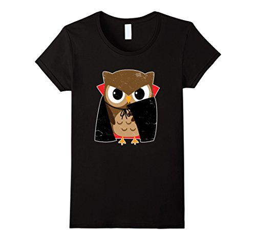 [Women's Cute Dracula Halloween Owl - Distressed Vintage Print Shirt Large Black] (Dracula Costumes For Women)