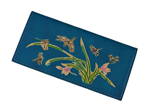 - Genuine Leather Checkbook Cover, Dragonflies & Iris Flower Pattern, More Color. (Blue)